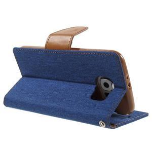 Luxury textilní/koženkové puzdro na Samsung Galaxy S6 - modré - 4