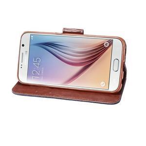 Cloth peňaženkové puzdro pre Samsung Galaxy S6 - čierné - 4