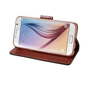Business látkové/PU kožené puzdro na Samsung Galaxy S6 - čierné - 4