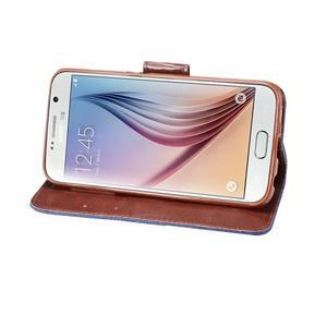 Cloth peňaženkové puzdro pre Samsung Galaxy S6 - tmavo modré - 4