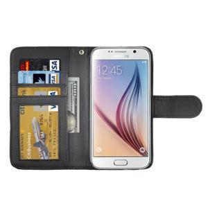 Croco motiv koženkového pouzdra na Samsung Galaxy S6 - čierné - 4