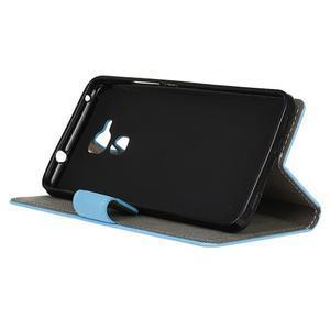 Peňaženkové PU kožené puzdro pre mobil Honor 7 Lite - modré - 4