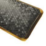 Plastový kryt se zlatým lemem pre HTC One mini 2 - čierny - 4/5