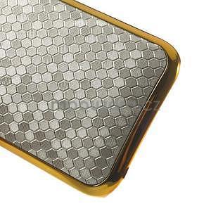 Plastový kryt se zlatým lemem na HTC One mini 2 - strieborný - 4