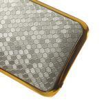 Plastový kryt se zlatým lemem pre HTC One mini 2 - strieborný - 4/5