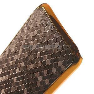 Plastový kryt se zlatým lemem na HTC One mini 2 - tmavě hnědý - 4