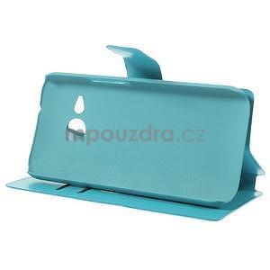 Tyrkysové peňaženkové puzdro pre HTC One mini 2 - 4