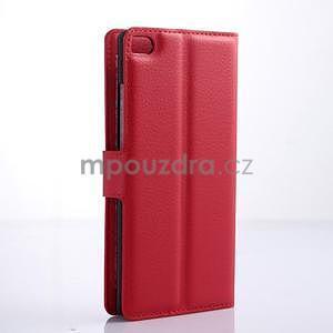 Kožené peňaženkové puzdro na Huawei Ascend P8 - červený - 4