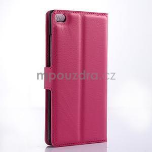 Kožené peňaženkové puzdro na Huawei Ascend P8 - rose - 4