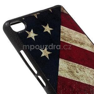 Gélový kryt s koženým chrbtom na Huawei Ascend P8 -  US vlajka - 4