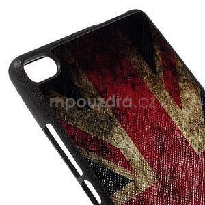 Gélový kryt s koženým chrbtom na Huawei Ascend P8 -  UK vlajka - 4