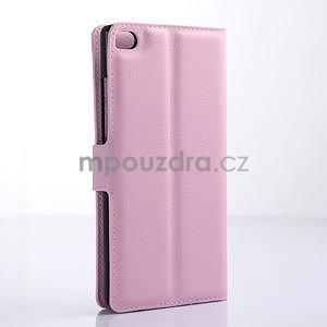 Kožené peňaženkové puzdro na Huawei Ascend P8 - růžový - 4