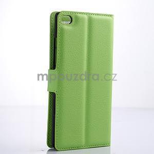 Kožené peňaženkové puzdro na Huawei Ascend P8 - zelený - 4
