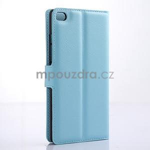 Kožené peňaženkové puzdro na Huawei Ascend P8 - modrý - 4