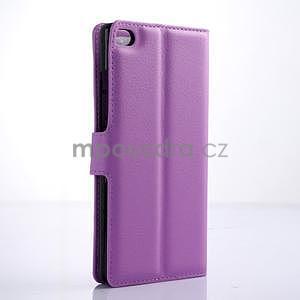Kožené peňaženkové puzdro na Huawei Ascend P8 - fialový - 4