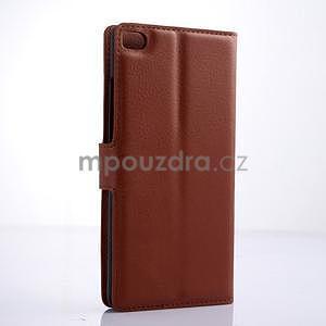Kožené peňaženkové puzdro na Huawei Ascend P8 - hnědý - 4