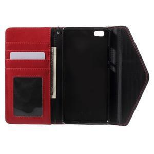 Luxusní peněženkové pouzdro na Huawei P8 Lite - červené / černé - 4