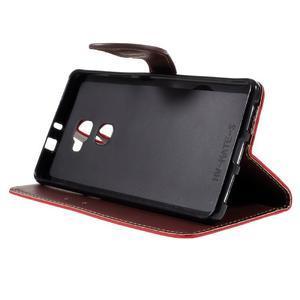 Knižkové PU kožené puzdro na mobil Huawei Mate S - červené - 4
