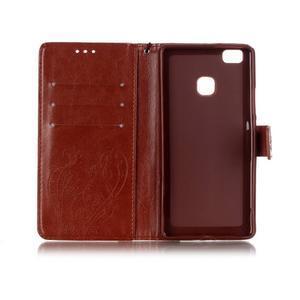 Magicfly knížkové pouzdro na telefon Huawei P9 Lite - hnědé - 4