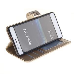Luxury PU kožené peněženkové pouzdro na Huawei P9 Lite - zlaté - 4