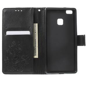 Cloverleaf penženkové puzdro s kamínky na Huawei P9 Lite - čierne - 4