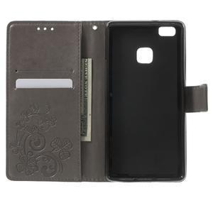 Cloverleaf penženkové pouzdro s kamínky na Huawei P9 Lite - šedé - 4