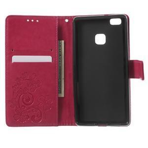 Cloverleaf penženkové pouzdro s kamínky na Huawei P9 Lite - rose - 4