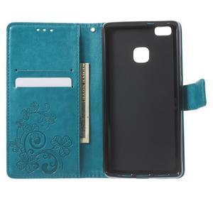 Cloverleaf penženkové pouzdro s kamínky na Huawei P9 Lite - modré - 4