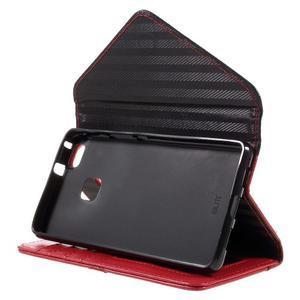 Penženkové pouzdro na mobil Huawei P9 Lite - černé/červené - 4
