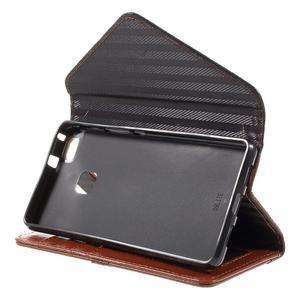 Penženkové pouzdro na mobil Huawei P9 Lite - černé/hnědé - 4