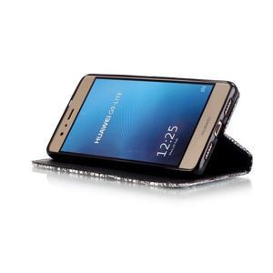 Knižkové PU kožené puzdro na Huawei P9 Lite - lebka - 4