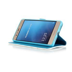 Knížkové PU kožené pouzdro na Huawei P9 Lite - barevná peříčka - 4