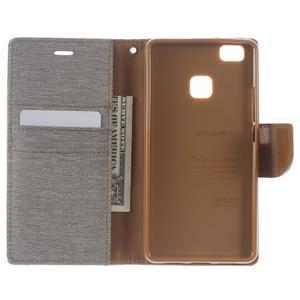 Canvas PU kožené/textilní pouzdro na Huawei P9 Lite - šedé - 4