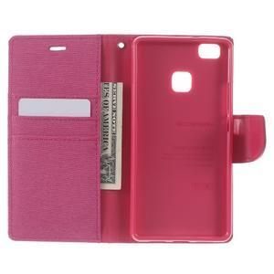 Canvas PU kožené/textilní pouzdro na Huawei P9 Lite - rose - 4