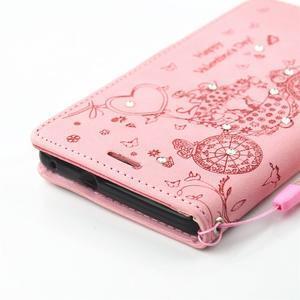 Loves PU kožené puzdro s kamienkami na Huawei P9 Lite - ružové - 4