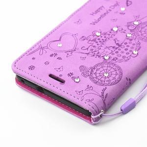 Loves PU kožené pouzdro s kamínky na Huawei P9 Lite - fialové - 4
