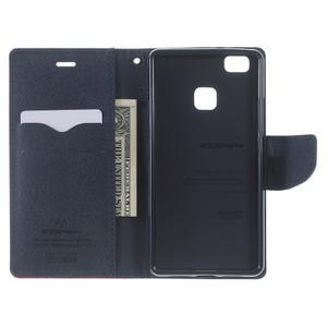 Diary PU kožené pouzdro na telefon Huawei P9 Lite - červené - 4