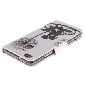 Lethy knižkové puzdro na telefon Huawei P9 Lite - láska na bicykli - 4