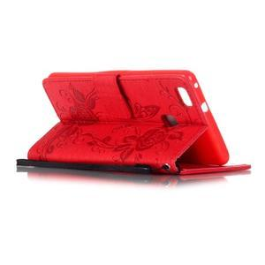 Květinoví motýlci peněženkové pouzdro na Huawei P9 Lite - červené - 4