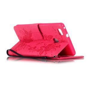 Květinoví motýlci peněženkové pouzdro na Huawei P9 Lite - rose - 4