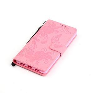 Kvetinové motýle peňaženkové puzdro na Huawei P9 Lite - ružové - 4