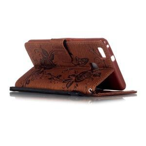 Květinoví motýlci peněženkové pouzdro na Huawei P9 Lite - hnědé - 4