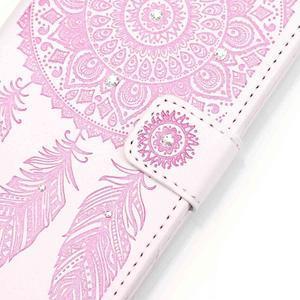Dream PU kožené pouzdro s kamínky na Huawei P9 Lite - růžové/bílé - 4