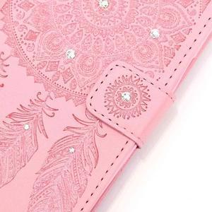 Dream PU kožené pouzdro s kamínky na Huawei P9 Lite - růžové - 4