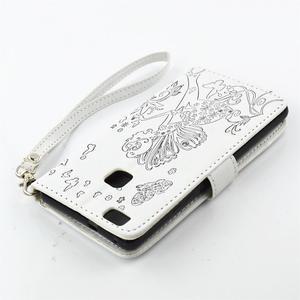 Víla PU kožené puzdro s kamienkami na Huawei P9 Lite - biele/čierne - 4