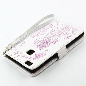 Víla PU kožené pouzdro s kamínky na Huawei P9 Lite - bílé/růžové - 4