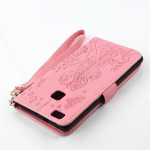 Víla PU kožené pouzdro s kamínky na Huawei P9 Lite - růžové - 4