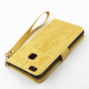 Víla PU kožené pouzdro s kamínky na Huawei P9 Lite - žluté - 4
