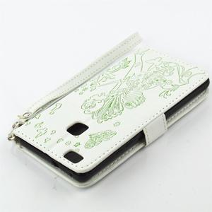 Víla PU kožené puzdro s kamienkami na Huawei P9 Lite - biele/zelené - 4