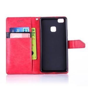 Duocolory PU kožené pouzdro na Huawei P9 Lite - červené/černé - 4